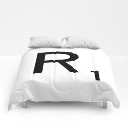 Letter R - Custom Scrabble Letter Tile Art - Scrabble R Initial Comforters
