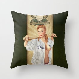 VINTAGE GIRLS - Baseball Throw Pillow