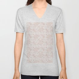 Elegant pink white pastel color chic floral lace Unisex V-Neck