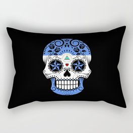 Sugar Skull with Roses and Flag of Nicaragua Rectangular Pillow