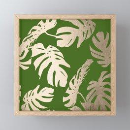 Palm Leaves White Gold Sands on Jungle Green Framed Mini Art Print