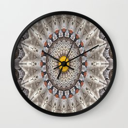 Lovely Healing Mandalas in Brilliant Colors: Black, Ecru, Gray, Silver, Orange, and Yellow Wall Clock