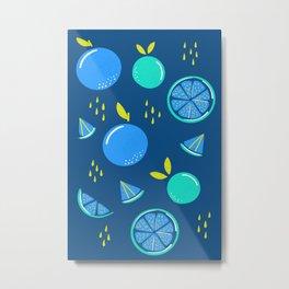 Blue Oranges Metal Print