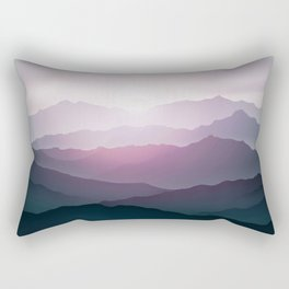 dark blue mountain landscape with fog and a sunrise and sunset Rectangular Pillow