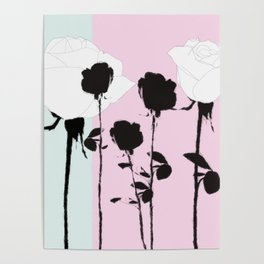 Roses with ink Poster