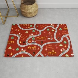 Fireman cute seamless kids pattern dark red Rug