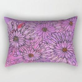 African Daisy, Pink Flowers, Floral Art Rectangular Pillow