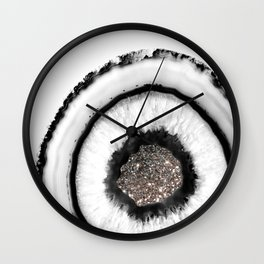 White Agate with Silver Glitter Glam #1 #gem #decor #art #society6 Wall Clock