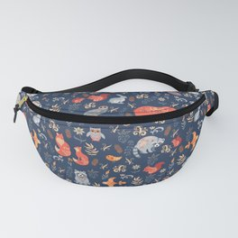 Fairy-tale forest. Fox, bear, raccoon, owls, rabbits, flowers and herbs on a blue background. Seamle Fanny Pack