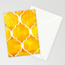 Golden quatrefoil pattern in watercolor Stationery Cards