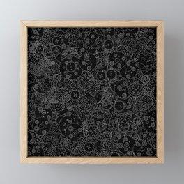 Clockwork B&W inverted / Cogs and clockwork parts lineart pattern Framed Mini Art Print