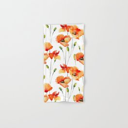 Hand Painted orange yellow watercolor poppies floral Hand & Bath Towel