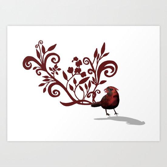 Swirly Bird Art Print