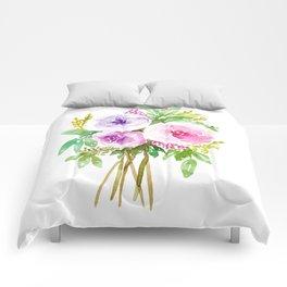 Watercolor Floral Bouquet  Comforters