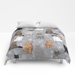 Cat breeds snowflakes winter cuddles with kittens cat lover essential cat gifts Comforters