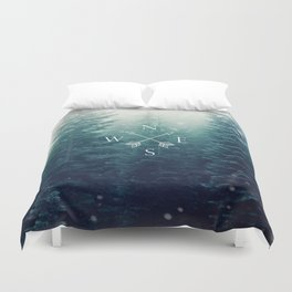 Arrow Compass in the Winter Woods Duvet Cover