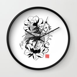 Japanese Koi black Wall Clock