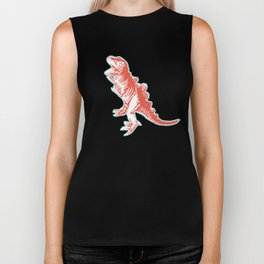 Dino Pop Art - T-Rex - Teal & Dark Orange Biker Tank