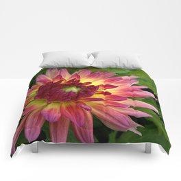Purple Dahlia with leaves 68 Comforters