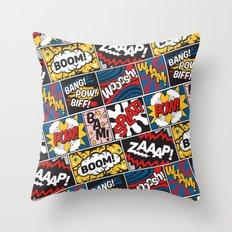 Modern Comic Book Superhero Pattern Color Colour Cartoon Lichtenstein Pop Art Throw Pillow