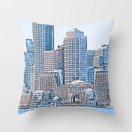Boston, Panorama Throw Pillow