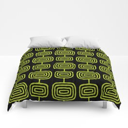 Mid Century Modern Atomic Rings Pattern Black and Chartreuse Comforters