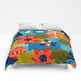 Festive navy blue coral pink hand painted christmas party pattern Comforters