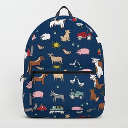 Farm animals nature sanctuary cow pig goats chickens kids gender neutral Backpack
