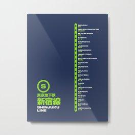 Shinjuku Line Tokyo Train Station List Map - Navy Metal Print
