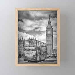 LONDON Houses of Parliament and traffic Framed Mini Art Print
