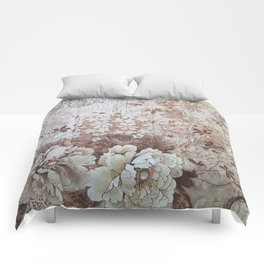 Rustic vintage ivory brown lace floral typography Comforters