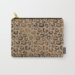 Brown Glitter Leopard Print Pattern Carry-All Pouch