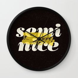 Semi Nice black-white yellow typography poster bedroom wall home decor Wall Clock