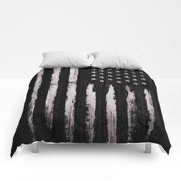 White Grunge American flag Comforters