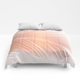 Palm leaf - copper pink Comforters