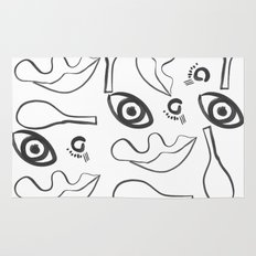 Eyes and nose and lips Rug