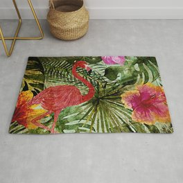 Tropical Vintage Exotic Jungle- Floral and Flamingo watercolor pattern Rug