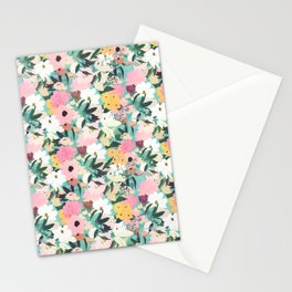 Pretty Watercolor Pink & White Floral Green Design Stationery Cards