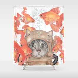 Scuba Cat Among the Fishes Shower Curtain