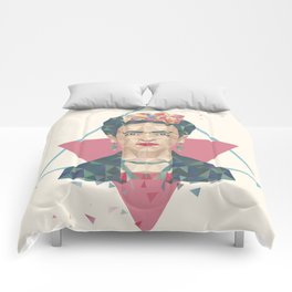 Pastel Frida - Geometric Portrait with Triangles Comforters
