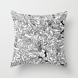 Lots of Bodies Doodle in Black and White Throw Pillow
