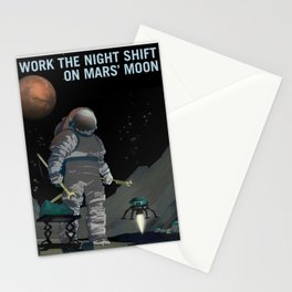 Work the Night Shift on Mars' Moon Phobos Join Mars Exploration Poster Stationery Cards