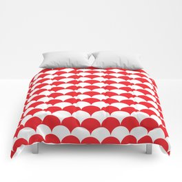 Red Fan Shell Pattern Comforters