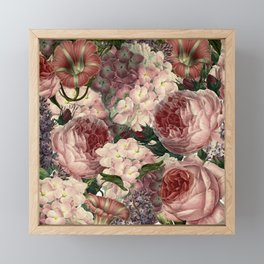 Vintage & Shabby Chic Pink Dark Floral Roses Lilacs Flowers Watercolor Pattern Framed Mini Art Print