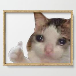 sadcat thumbs up discord emote Serving Tray