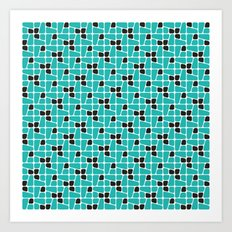 Teal Midcentury pattern Art Print
