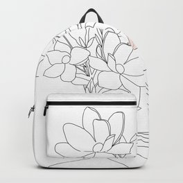 Minimal Line Art Woman with Magnolia Backpack