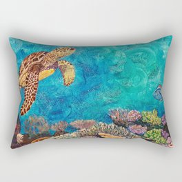 A Look around - Sea turtle in the reef Rectangular Pillow
