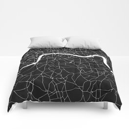 London Black on White Street Map Comforters