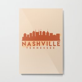 NASHVILLE TENNESSEE CITY MAP SKYLINE EARTH TONES Metal Print